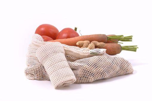 Casa Organica Síťový sáček na z biobavlny na ovoce a zeleninu - střední (38 x 30cm)