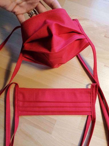 Obrázek z Rouška 100% bavlna 2-vrstvá s kapsou na filtr - červená
