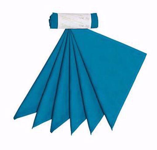 Heboučké kapesníky z biobavlněného saténu pánské – tealová modrá (36×36 cm) 6 ks