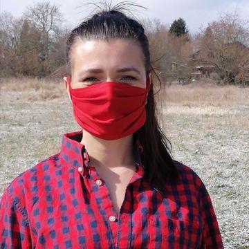 Rouška bavlna/polyester 1-vrstvá - červená