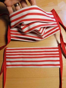 Rouška 100% bavlna 2-vrstvá s kapsou na filtr - červeno/bílá