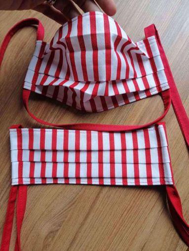 Rouška 100% bavlna 1-vrstvá - červeno/bílý proužek